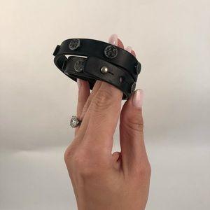 Black Tory Burch leather double wrap bracelet